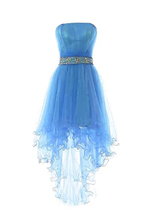 Womens Strapless Beaded High Low Short Homecoming Gowns Plus Size Prom Formal Dresses 628 Blue-