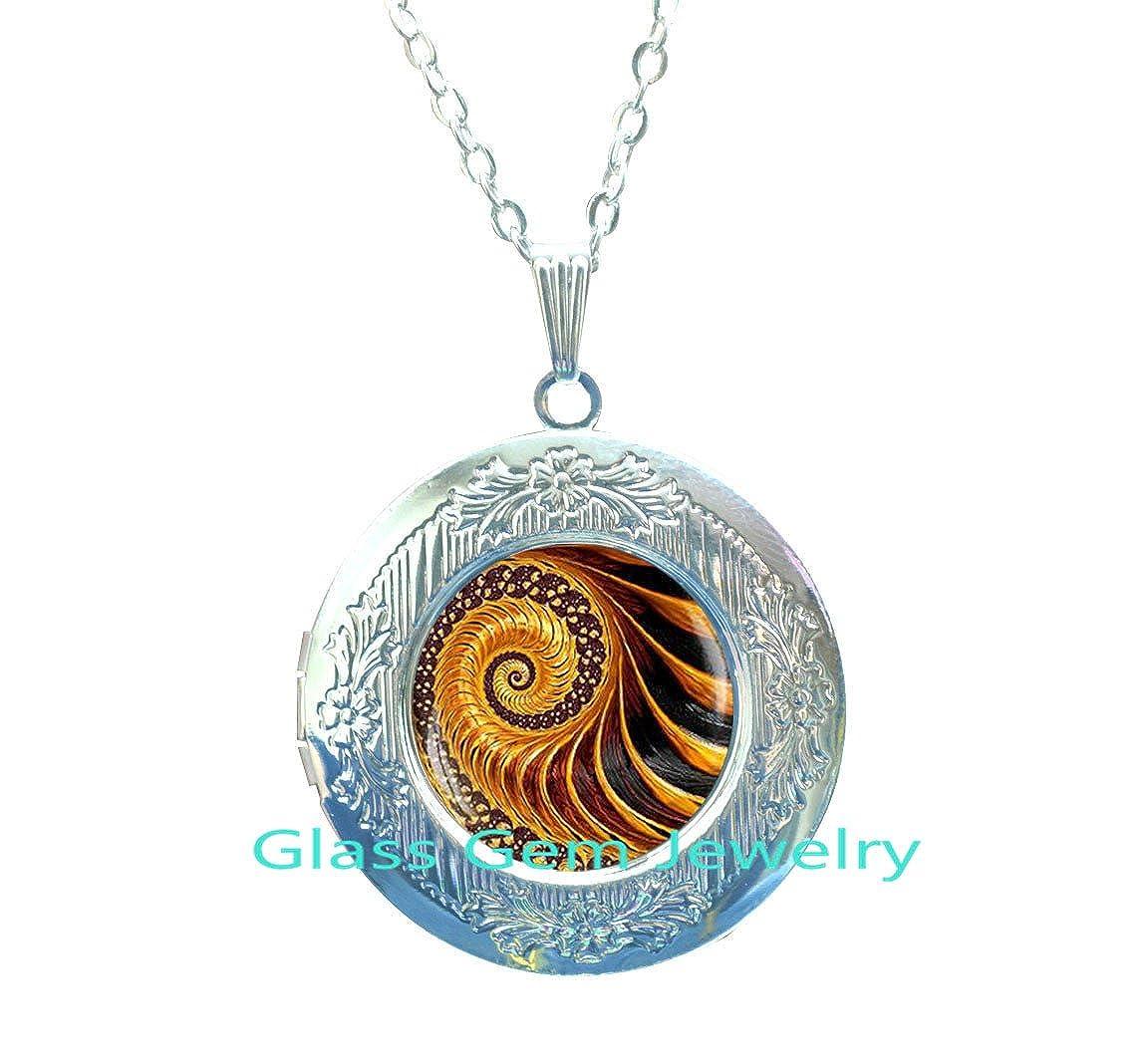 Golden Fractal Locket Necklace Fractal Locket Pendant Fibonacci Spiral Locket Pendant Sacred geometry,Q006 Fractal jewelry Fibonacci Locket Pendant Golden Ratio