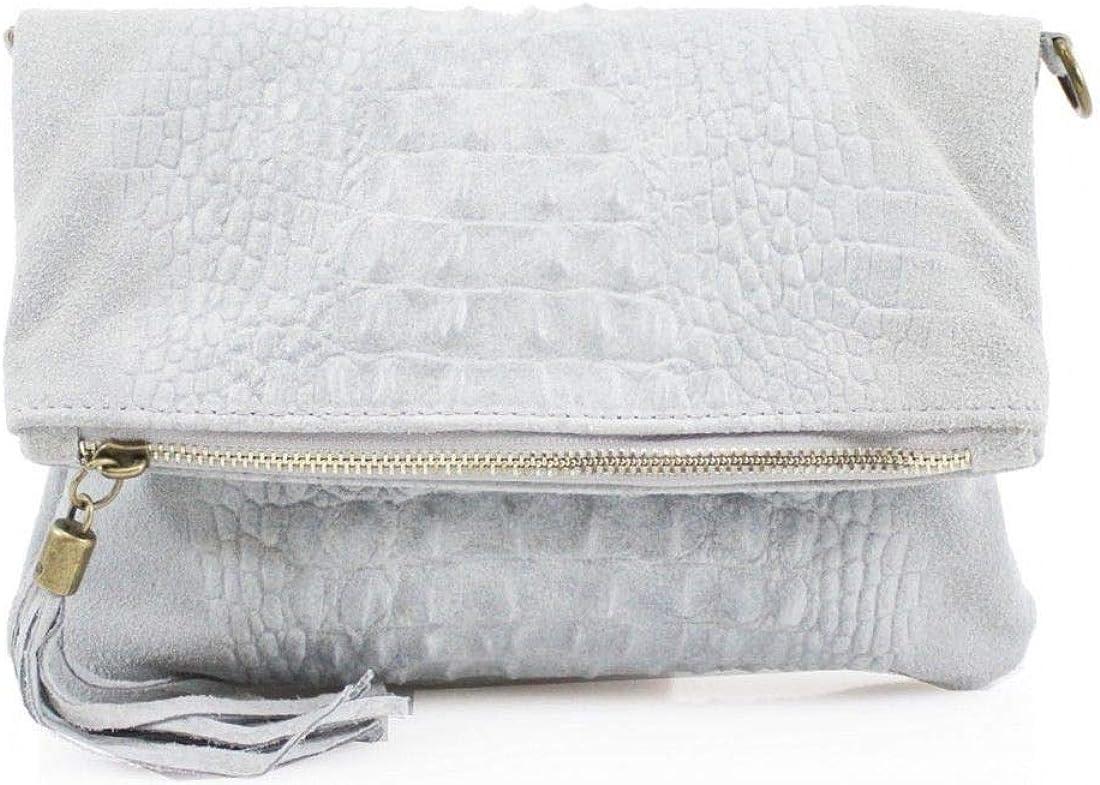 Women New Italian Real Suede Leather Snake Skin Handbag Clutch Bag Casual Tassel