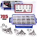 Hilitchi 705-Pcs M3 M4 M5 Hex Hexagon Head Cap Machine Screws Bolts Nuts Flat and Lock Washers Assortment Kit, 304 Stainless Steel, 8 to 20mm Length, Full Thread
