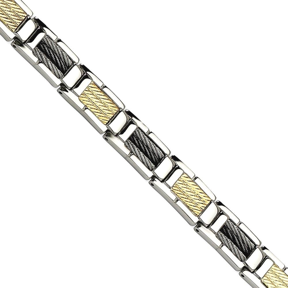ICE CARATS Stainless Steel Black Plated Wire 14k 8.5 Inch Bracelet 8.50 Man Link Men Fine Jewelry Dad Mens Gift Set