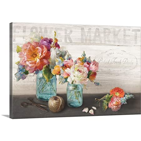 French Cottage Bouquet III Canvas Wall Art Print, 48 x32 x1.25