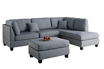 Amazon Com Modern Contemporary Polyfiber Fabric Sectional Sofa And