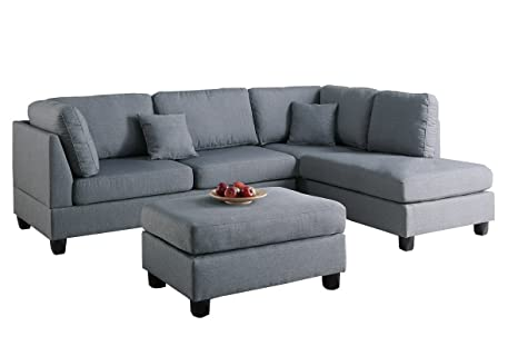 Magnificent Jbw Modern Contemporary Polyfiber Fabric Sectional Sofa And Ottoman Set Gray Theyellowbook Wood Chair Design Ideas Theyellowbookinfo