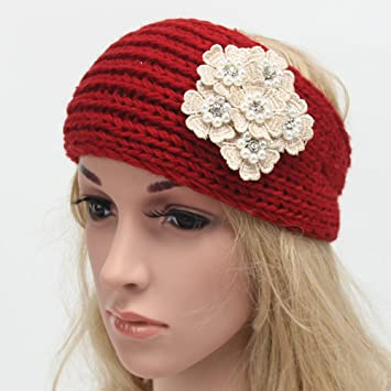 Amazon.com   Jewby Winter Headband for Women - Knit Headband - Winter Head  Wrap (Red)   Beauty b4d2d7082f9