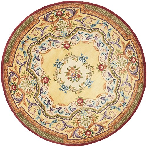 Safavieh Empire Collection EM822A Handmade Traditional European Gold Premium Wool Round Area Rug (4' Diameter) (Rugs Empire Collection)