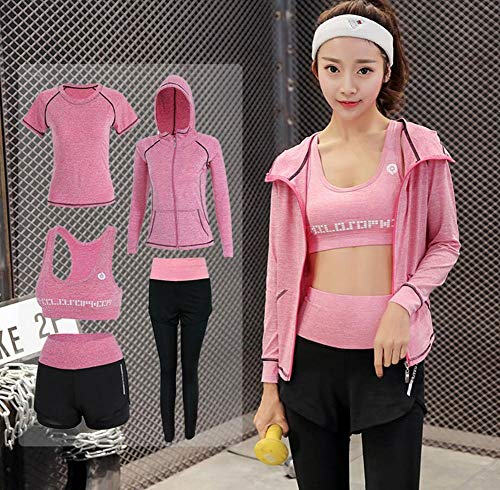 Onlyso Women's 5pcs Sport Suits Fitness Yoga Running Athletic Tracksuits 15