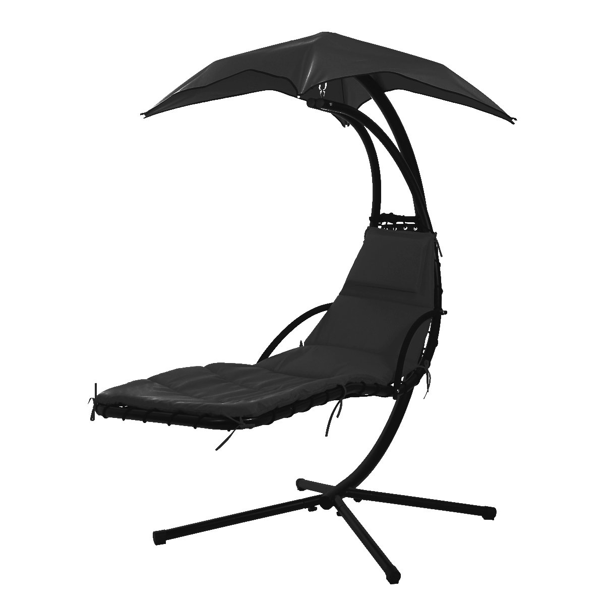 MR Direct NEW Hanging Chaise Lounger Chair Arc Stand Air Porch Swing Hammock Chair Canopy Black
