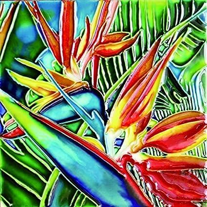 Amazon Com Tropical Bird Of Paradise Decorative Ceramic Art Tile