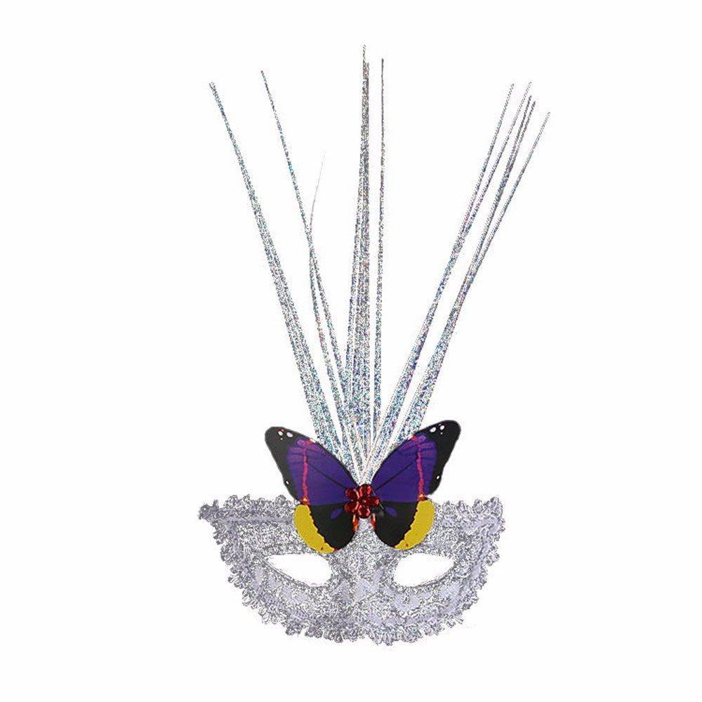 Face mask Shield Veil Guard Screen Domino False Front Butterfly rain Silk mask Halloween Dance Feather mask Blue