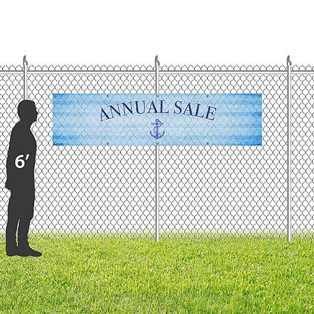 CGSignLab Annual Sale 16x4 Nautical Stripes Wind-Resistant Outdoor Mesh Vinyl Banner