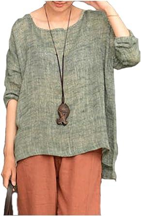 Las Mujeres De Manga Larga Camiseta De Algodón Holgada Ropa Casual Diaria De Top Blusa: Amazon.es: Ropa y accesorios