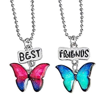 Housweety 2 Pcs Collier D Amitié Forever Collier Best Friend Pendentif Deux Papillons Colorés Imprimés Best Friends Pour Femme Fille