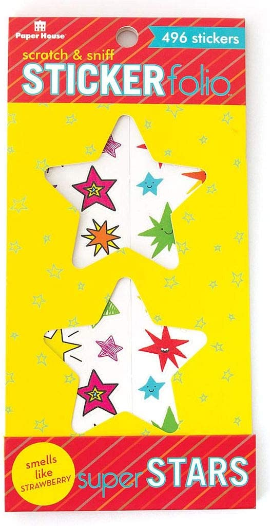 Paper House Productions Super Stars Scratch /& Sniff Sticker Folio for Classrooms Scrapbooking and Collecting