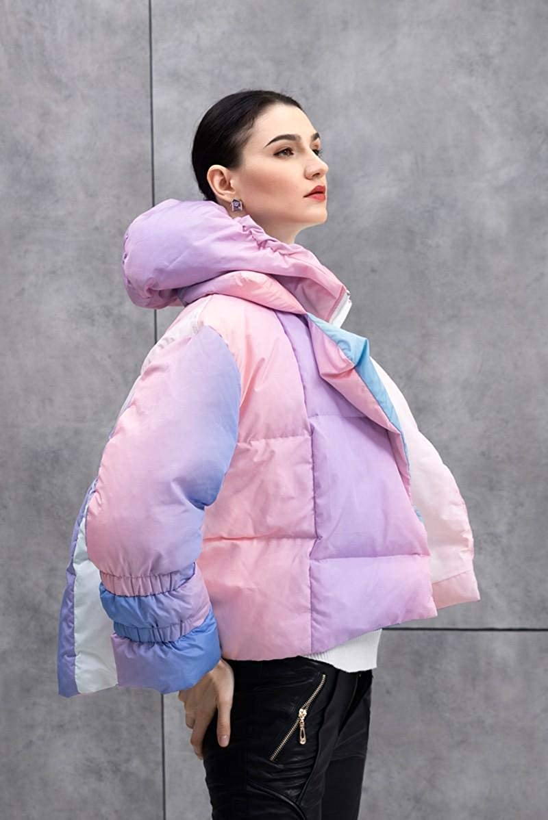 Kylie Jenner Pastel Rainbow Ombre Puffer Down Jacket Winter Coat Oversize Loose