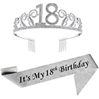 18th Silver Birthday Tiara and Sash Glitter Satin Sash and Crystal Rhinestone Tiara Crown for Happy 18th Birthday Party…
