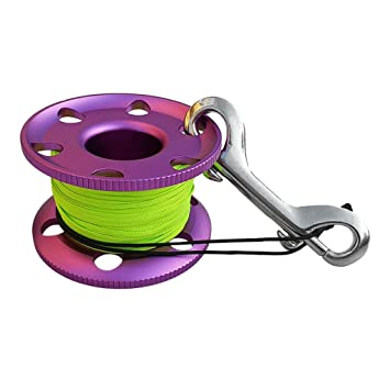 MagiDeal Scuba Diving Aluminium Finger Spool Reel Line with Stainless Steel Snap Bolt Clip