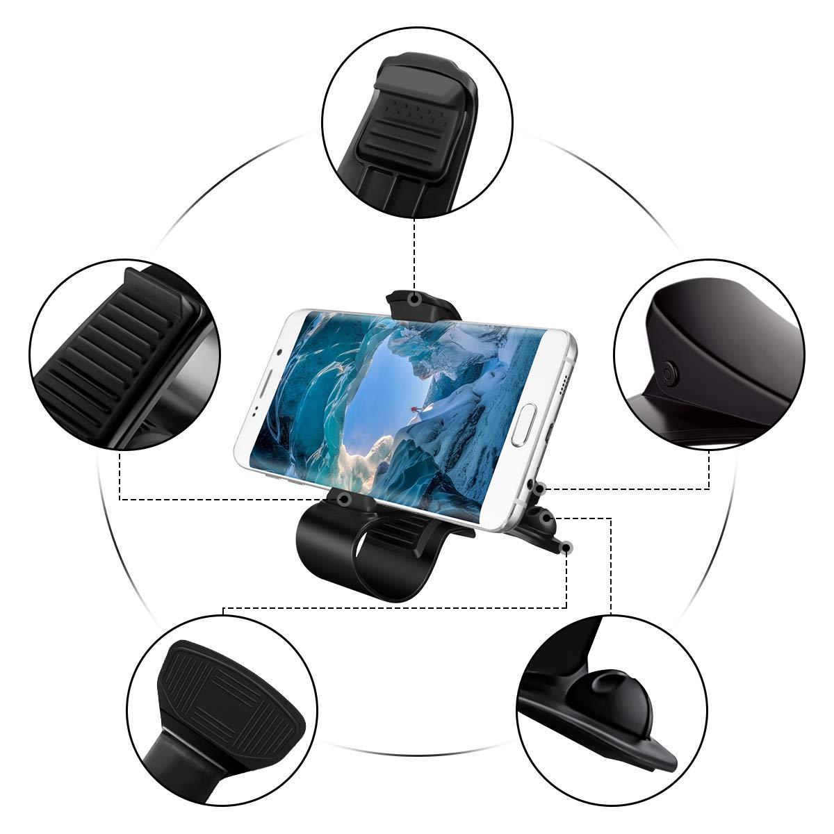 M.Way Soporte para Teléfono de Coche, HUD Base Titular de Teléfono Móvil Compatible iPhone 6/7/8 Plus Andriod galaxia S7 HuaWei con Todo Tipo de ...