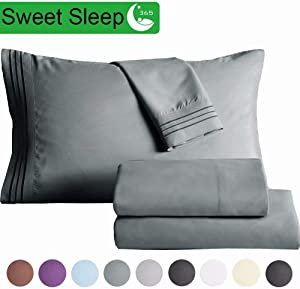 "SAKIAO Queen Size Bed Sheets Set - Brushed Microfiber 1800 Thread Count Percale - 16"" Deep Pocket Egyptian Sheets Beautiful Breathable Wrinkle Free & Fade Resistant - 4 Piece (Dark Grey,Queen)"