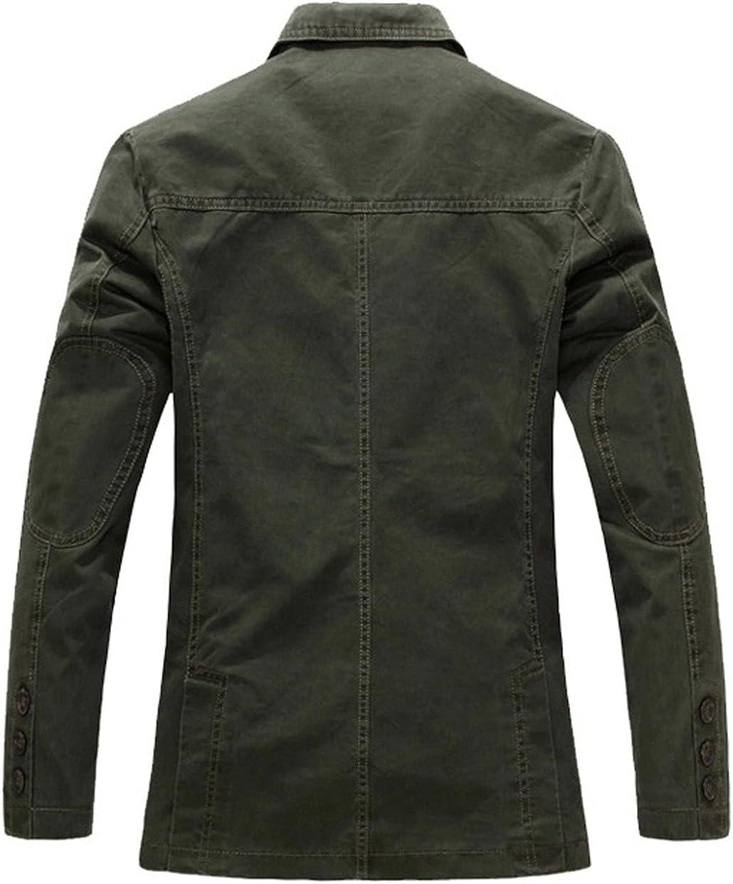 LEOCLOTHO Mens Casual Blazer Slim Fit Classic Military Suit Jacket Multi-Pocket Light Coat