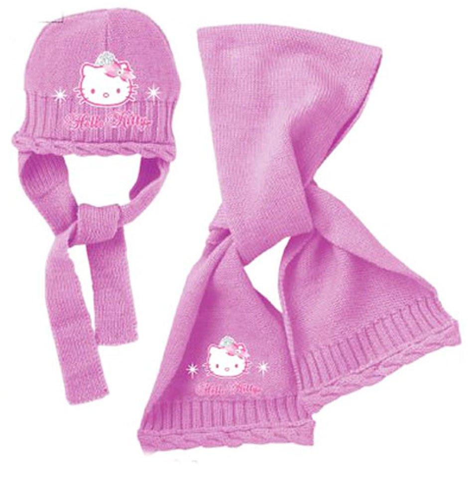 Sciarpa E Berretto Bambino Ragazza Hello Kitty ROSA E VIOLA da 9a 36mesi rosa rosa scuro 48 (9-18 mesi)