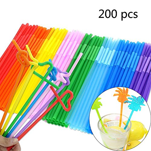 Flexible Drinking Straws of 200 PCS, Colorful Disposable Extra Long Bendable Plastic Drinking (Colorful Plastic)