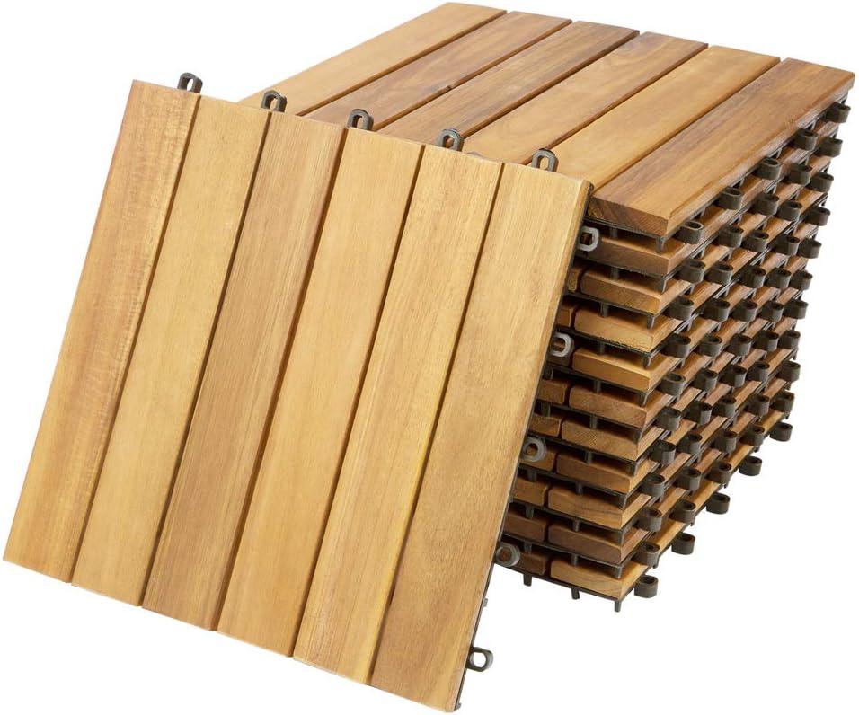 COSTWAY 10er Set 30x30cm Terrassenfliesen Holz Holzfliesen Bodenbelag 12 Latten Klickfliesen Braun Bodenfliesen Akazienholz