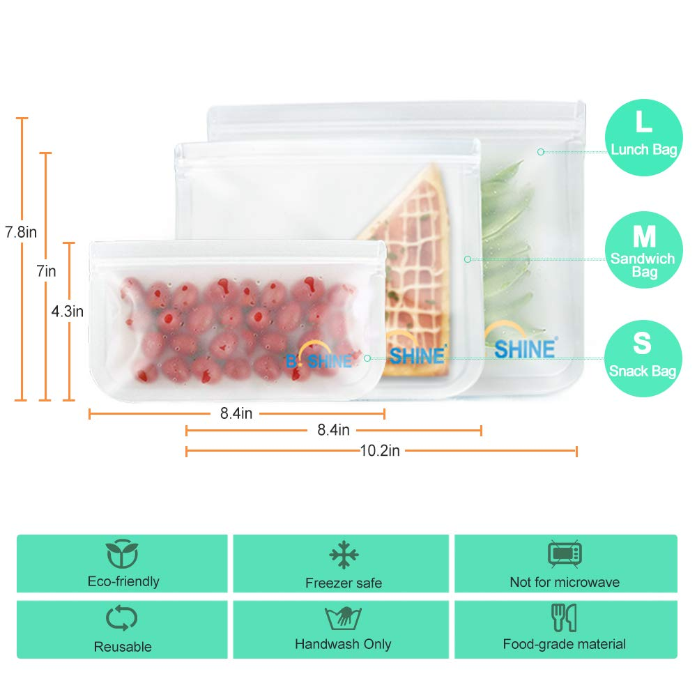 B.SHINE Reusable Storage Bags - 12 Pack Ziplock Sandwich Bag, Snack Bag, Lunch Bag with Matching Sealing Clip, Leakproof (12 Pack - 2 Lunch Bags + 6 Sandwich Bags + 4 Snack Bags)