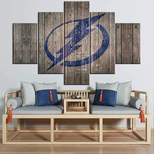 Tampa Bay Lightning Logo Picture Wall Art Rustic Blue Painting on Canvas Ice Hockey Sports Poster Stanley Cup 2004 Champion Picture Home Modern Decor Artwork Framed Ready to Hang 60Wx40H inche