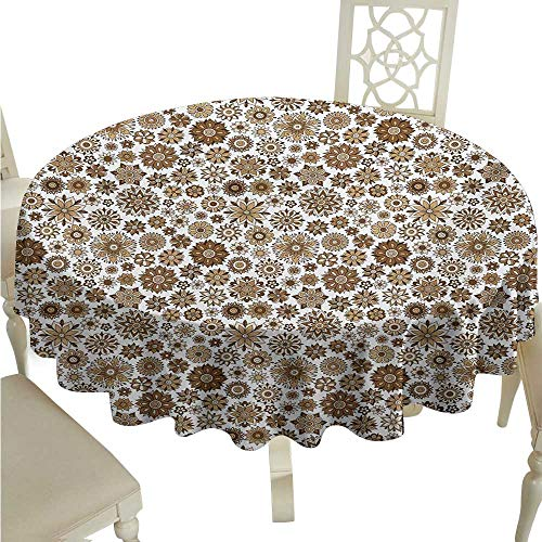 Doodle Garden - Willsd Round Tablecloth Garden Doodle Style Flourishing Corsage Bouquet Pattern Romantic Vintage Curly Washable Tablecloth D50 Suitable for picnics,queuing,Family