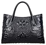 Pijushi Women Embossed Crocodile Bag Designer Top Handle Handbags Holiday Gift 5002A (One Size, 5002A Black)