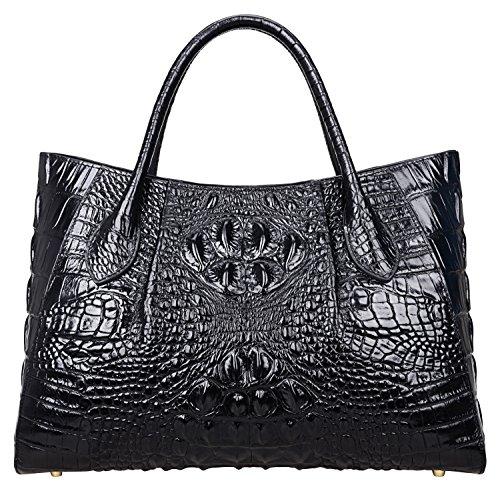 Pijushi Women Embossed Crocodile Bag Designer Top Handle Handbags Holiday Gift 5002A (One Size, 5002A Black)