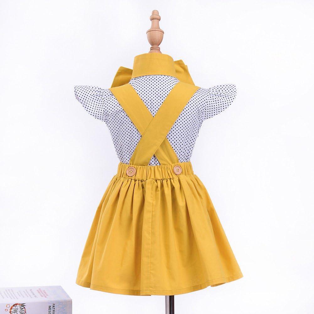 Vinjeely Baby Girls Summer Princess Dot Sleeveless Top Strap Ruffle Skirt Bow Headband Set