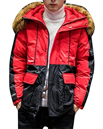 c1651d7c30 ARTFFEL Mens Plus Size Winter Thickened Contrast Hoodie Down Quilted ...