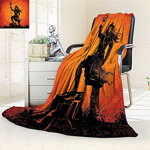AmaPark Weave Pattern Extra Long Blanket Lord Silhouette Holy Divine Zen Home Burnt Orange Black Lightweight Blanket Extra Big by AmaPark