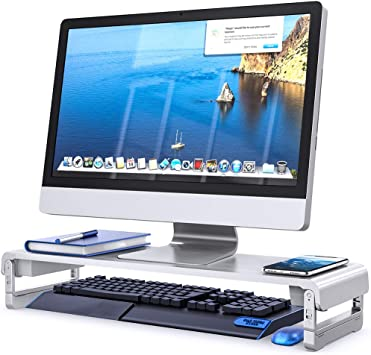 VIVO Universal Height Adjustable Ergonomic Computer Monitor and Laptop Riser Tabletop Stand STAND-V000S