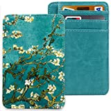 Slim RFID Front Pocket Minimalist Leather Wallet,Green Flower Secure Credit Card Holder,Cash Money
