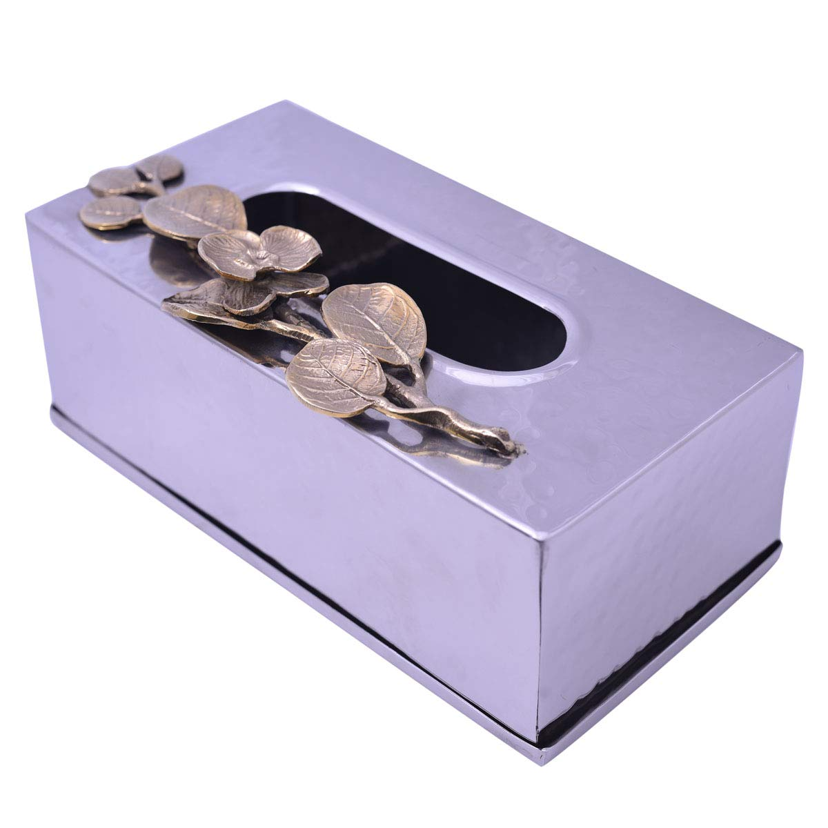 Decozen Hammered Rectangular Tissue Box Cover with Orchid Accent Shiny Surface Table Decoration Kitchen and Bath Accessory Smooth End Rectangular Opening Box Napkin Holder 10.5 x 7.5 x 5.5 Inches
