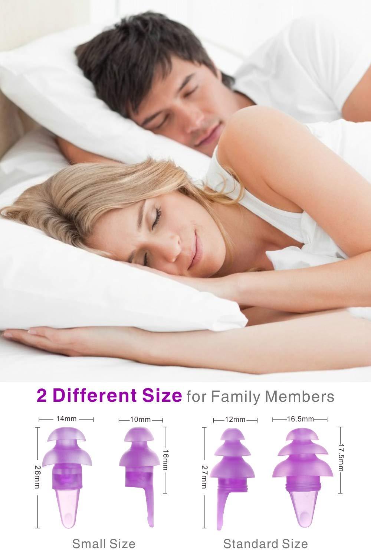 Tapones para los o/ídos para dormir trabajar P/úrpura Eargrace 2 pares Forma oval Tapones para los o/ídos con reducci/ón de ruido Tapones para los o/ídos de silicona suave ultraconfortables para dormir
