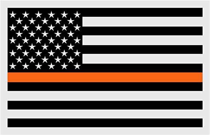 """2-5/"""" Thin Orange Line American Subdued Flag Decal Search Rescue SAR Sticker RL"""