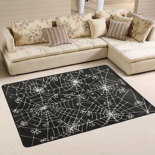 XiangHeFu Personalized Area Rugs Vintage Halloween Spooky Spider Web Background 320 Eau-Forte Black White 3'x2' (36x24 Inches) Floor Doormats Mat Soft for Living Room Bedroom Home Kitchen Decorative]()