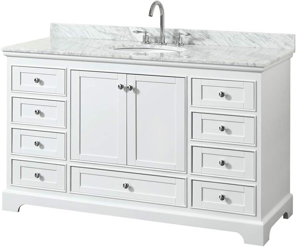 Wyndham Collection Deborah 60 Inch Single Bathroom Vanity in White White Carrara Marble Countertop and No Mirror Undermount Oval Sink