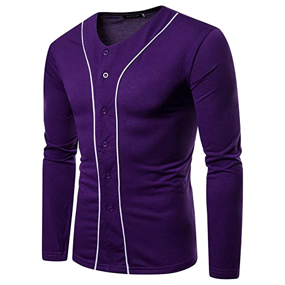 Boton de Invierno para Hombre Autum Casual con Cuello en V Sólido T-Shirt de