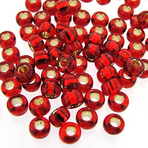 Miyuki Round Seed Beads Size 6/0 20g Silver Lined Ruby