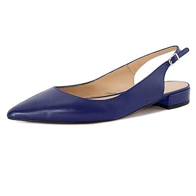 Soireelady Damen Slingback Pumps,Spitz Flach Sandalen Low Heel,2cm Knöchelriemchen Mitte Heel Sandalen Blau 36