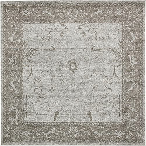 Unique Loom La Jolla Collection Tone-on-Tone Traditional Light Gray Square Rug 8 0 x 8 0