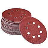 AUSTOR 60 Pieces 8 Holes Sanding Discs, 5 Inch Hook and Loop 40/ 60/ 80/ 120/ 180/ 240 Grit Sandpaper Assortment for Random Orbital Sander