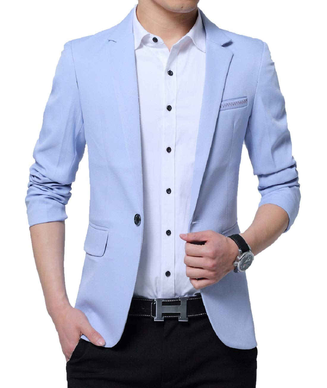 XueYin Men's Slim Fit Suits Casual Wear Blazer Jacket(Sky Blue,M Size) by XueYin