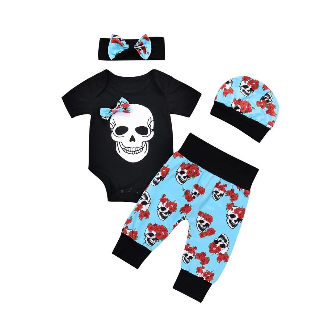 wuayi 4 Pcs Set Newborn Baby Boys Girls Rose Skull Romper + Pants + Cap + Headband
