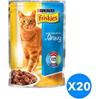 Purina Friskies with Salmon in Gravy Cat Food Single Serve Pouch 100g (20 Pouches)